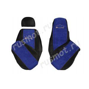 Чехлы Премиум для SCANIA R P G MIX 2004-2014 черно-синие