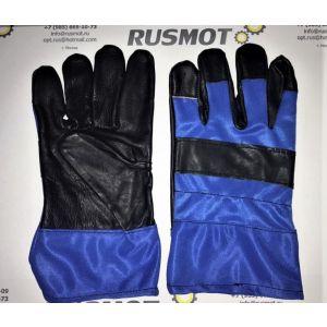Перчатки рабочие кожа+ткань Польша синий/черный