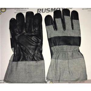 Перчатки рабочие кожа+ткань Польша серый/черный