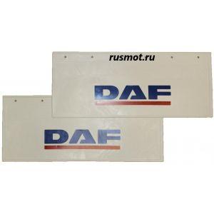Брызговики (66х27) Задний DAF из белой резины с синей надписью 2 Штуки