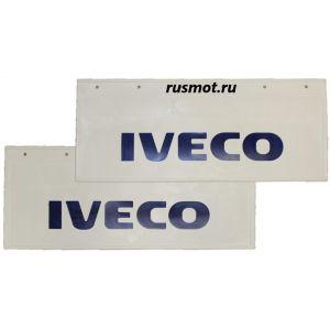 Брызговики (66х27) Задний IVECO из белой резины с синей надписью 2 Штуки