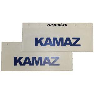 Брызговики (66х27) Задний KAMAZ из белой резины с синей надписью 2 Штуки