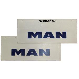 Брызговики (66х27) Задний MAN из белой резины с синей надписью 2 Штуки