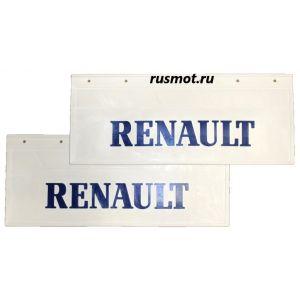 Брызговики (66х27) Задний RENAULT из белой резины с синей надписью 2 Штуки