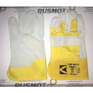 Перчатки рабочие кожа+ткань Польша желтый/белый