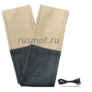 Оплетка на шнурке из натуральной кожи 47-48 бежевая с черным