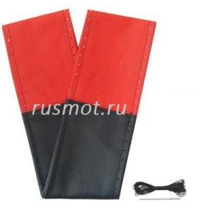 Оплетка на шнурке из натуральной кожи 49-50 красная с черным