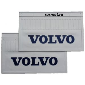 Брызговики (60х37) Задний VOLVO из белой резины с синей надписью 2 Штуки