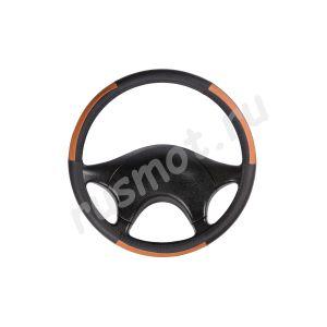 Оплетка руля из натуральной кожи 47-48 черно-оранжевая с перфорацией