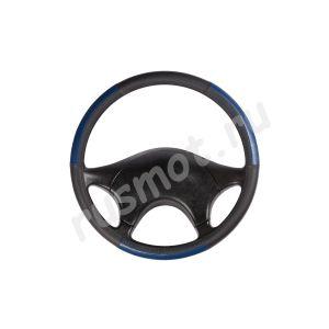 Оплетка руля из натуральной кожи 44-46 черно-синяя с перфорацией